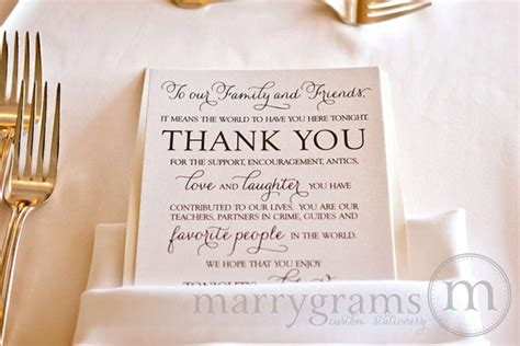 Thank You Letter Wedding Wedding Reception Thank You Card To Your Guests To Our