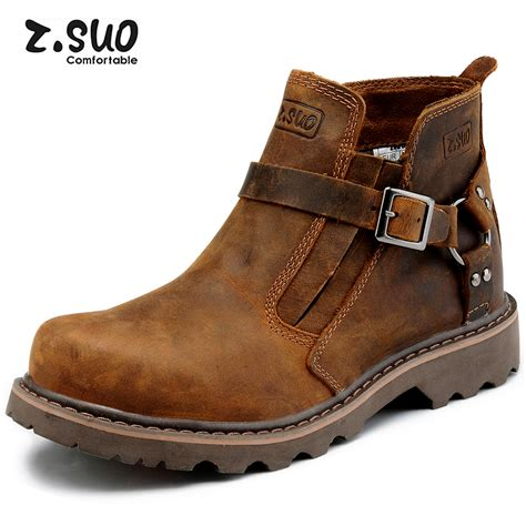 cheap leather biker boots aliexpress com buy 2014 zsuo fashion pointed toe men
