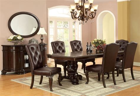 bellagio brown cherry round pedestal dining room set from furniture of america cm3319rt table bellagio brown cherry rectangular extendable pedestal