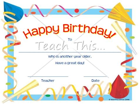printable birthday certificate templates birthday certificate printable classroom student awards