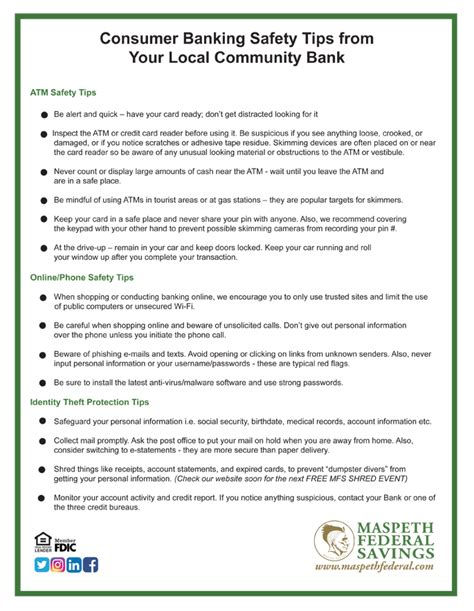 Tips From Bank by Banking Safety Tips From Maspeth Federal Savings Bank