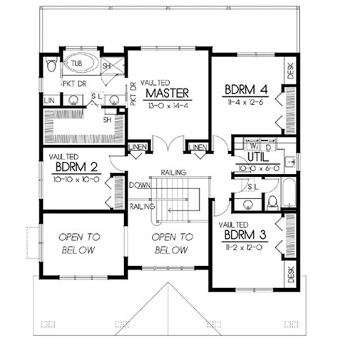 craftsman style house plan 5 beds 3 baths 2615 sq ft