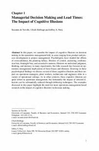 Research Paper Abstract Sle by Managerial Decision And Lead Times The Impact Of Cognitive Illusions Springer