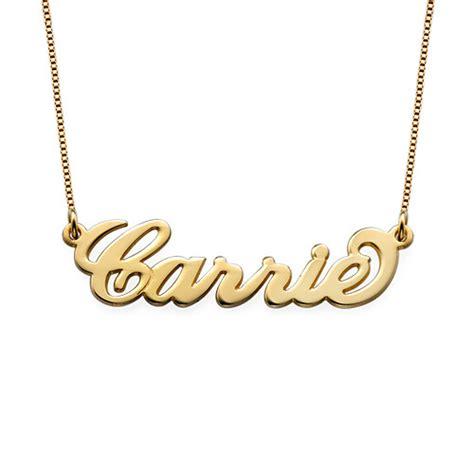 Jumbo Carie collar peque 241 o con nombre estilo quot carrie quot chapado en oro 18k micollarconnombre