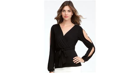 Sleeve Slit Sleeve Knit Top bebe slit sleeve tie knit top exclusive in black lyst