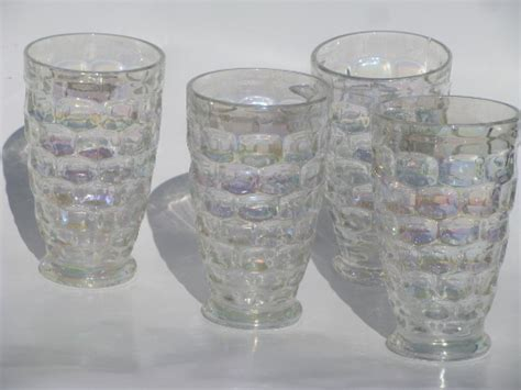 Antique Bar Decor by Vintage Federal Glass Tumblers Moonglow Iridescent Luster