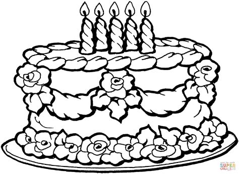 Big Birthday Cake Coloring Online Super Coloring Birthday Cake Color Page
