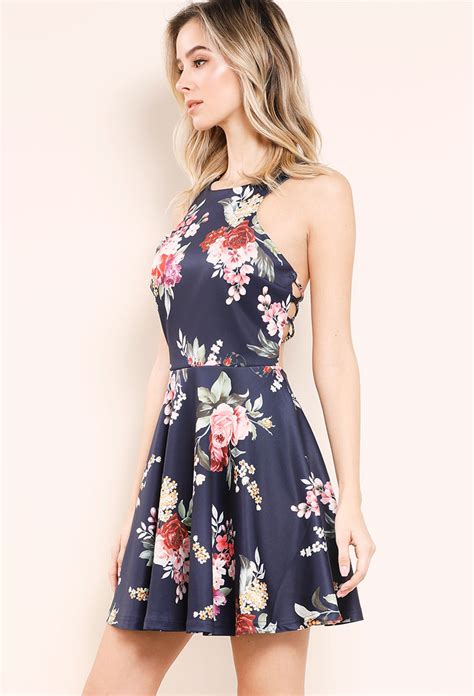 Zieasaiva Flowery Flare Mini Dress floral fit and flare halter crisscross side mini dress shop dresses at papaya clothing