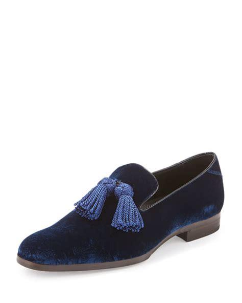 velvet tassel loafers jimmy choo foxley velvet tassel loafer royal