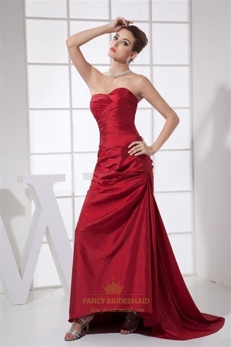 draped prom dress red taffeta strapless sweetheart draped prom dress with