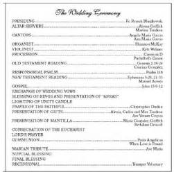 sle wedding programs outline what do you call the lay person that does readings at your wedding just a quot reader quot weddings