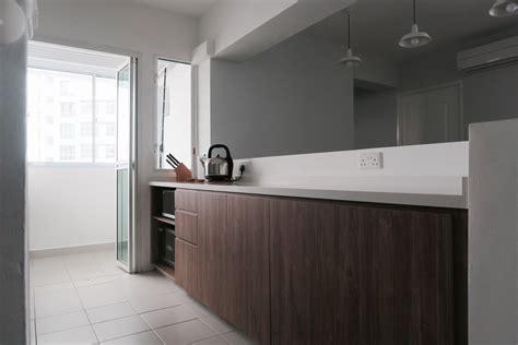 minimalist white brown wood kitchen simple clean quartz