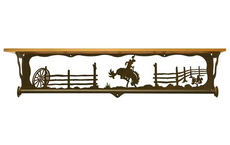 34 quot bucking bronco rider metal towel bar w alder wood top