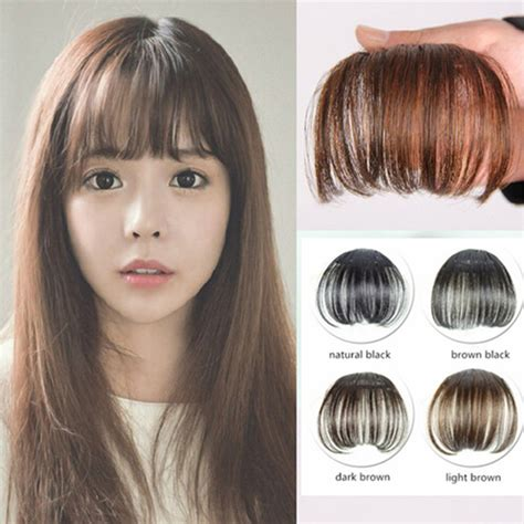 New Fashion Natural Thin Light Full Bang Clip In On Real Remy Hair Bangs Fringe Extensions Four