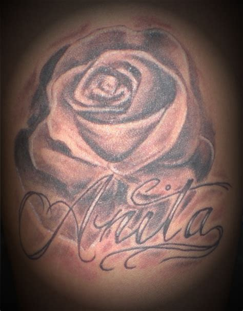 rose tattoo with the name anita augustine stakes flickr