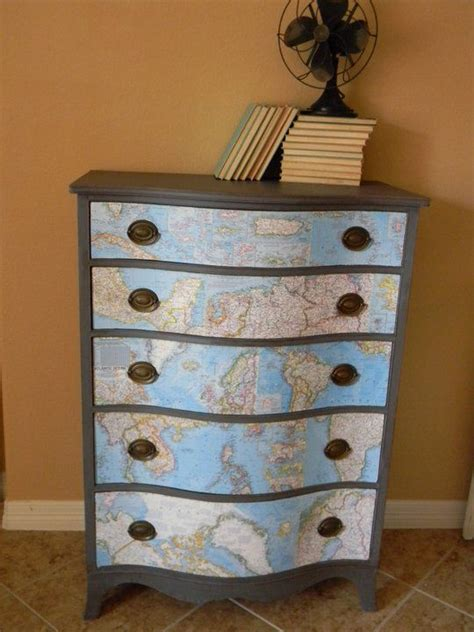 painted chest  drawers  world map drawer fronts painted furniture decoupage furniture