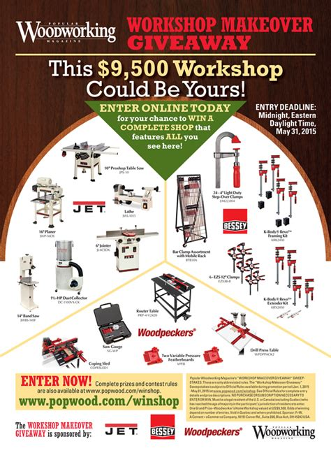 popular woodworking sweepstakes 2016 popular woodworking workshop makeover giveaway