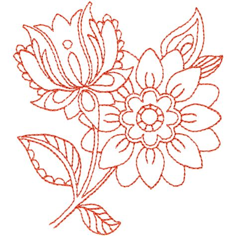 free embroidery design linework flowers