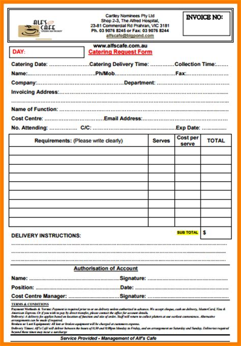 catering templates catering invoice sle hardhost info