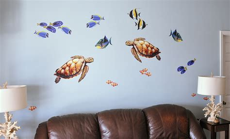 new sea turtle and tropical fish wall bold wall