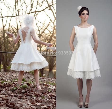 Hochzeitskleider Knielang Schlicht by Simple Design Lace And Satin Low Back Wedding