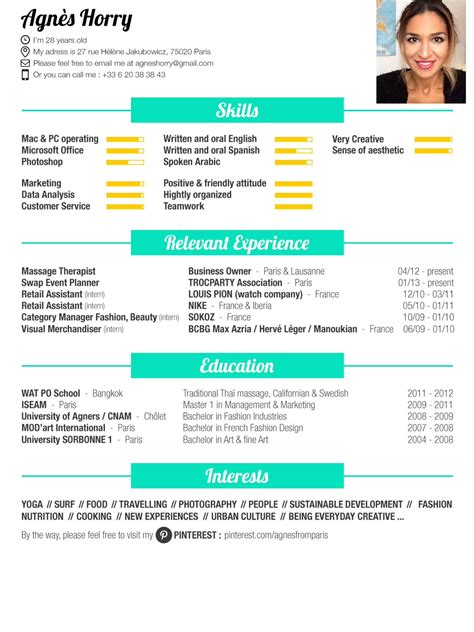Mon Cv by Mon Cv Here Is My Resume Foodlover Fashion Surf