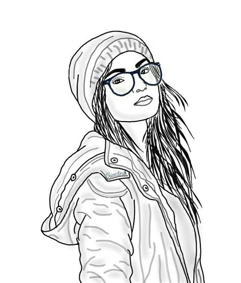 cartoon coloring page hipster girl pictures to pin on