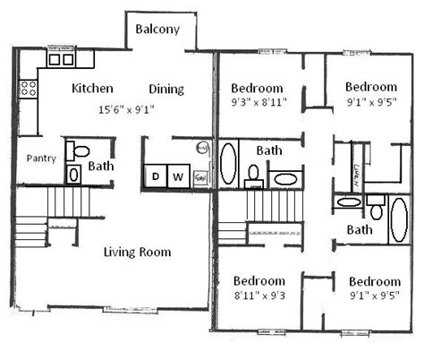 4 bedroom floor plan basham rentals 204 s salisbury st 4 bedroom floor plan