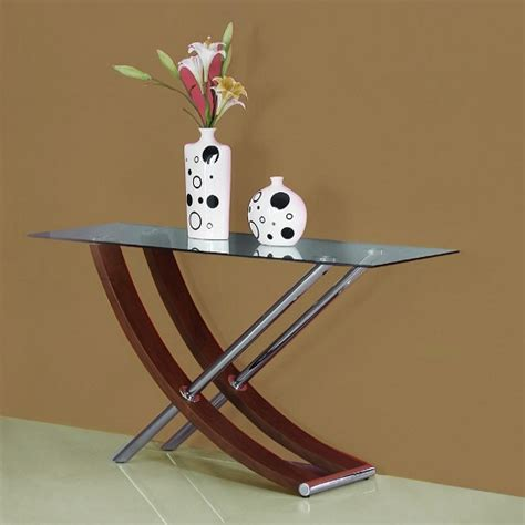 gemini console gemini clear glass top console table in walnut and chrome