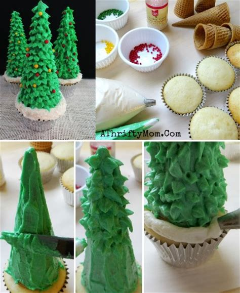 christmas tree cupcakes made with sugar cones and