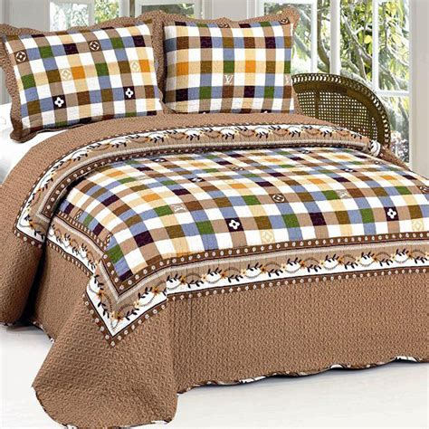 Country Patchwork Quilt Sets - american country style 100 cotton quilted bedspreads 3pcs