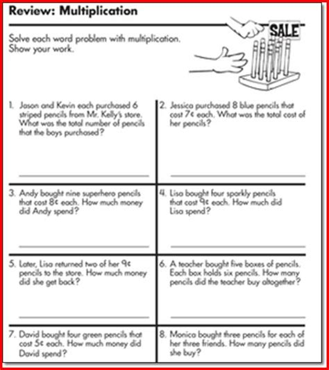 Math Worksheets For 3rd Grade Word Problems by Multiplication Word Problems 2nd Grade Math Word