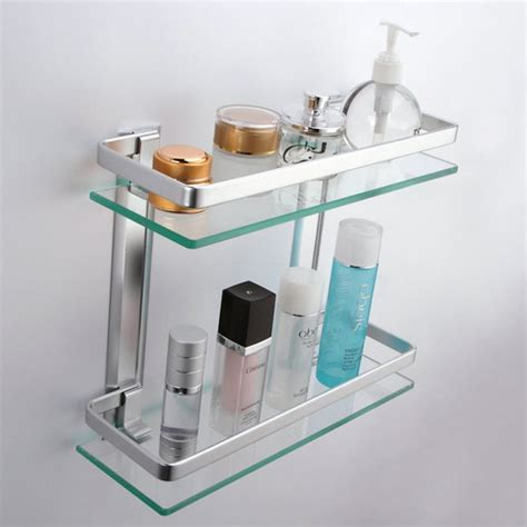 Kes Bathroom 2 Tier Glass Shelf With Rail Aluminum And Bathroom Glass Shelves With Rail