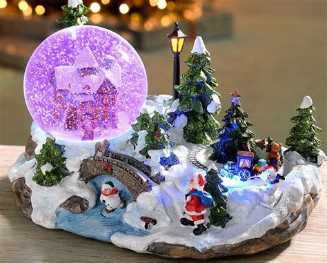 rotating train snow globe ornament pan