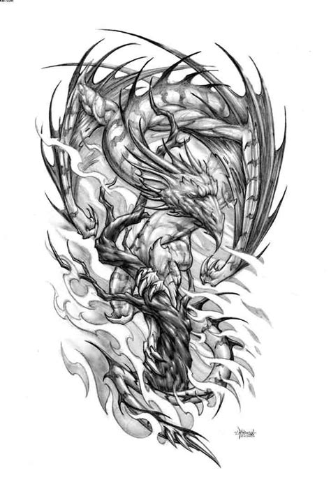 dragon and phoenix tattoo designs design