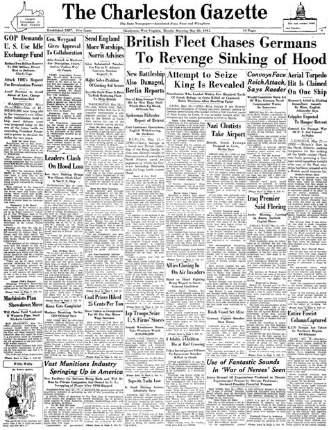 The Charleston Gazette | maritimequest hms hood 1918 front pages page 2