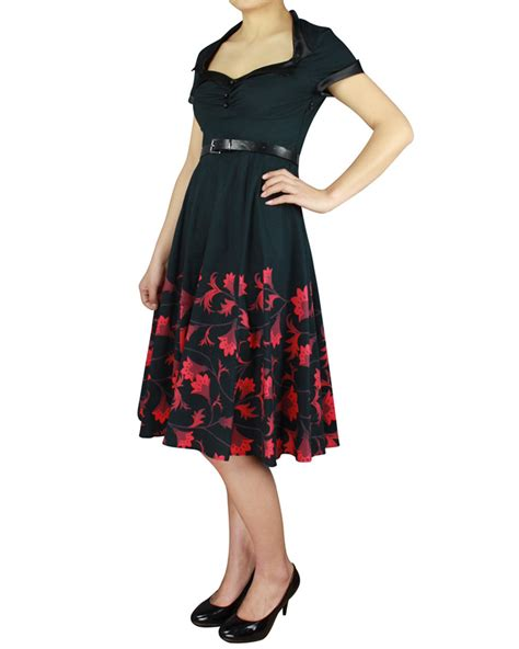 swing costumes rk96 floral printed 50s rockabilly swing dress flared