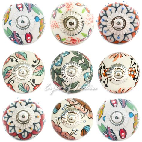 decorative knobs and pulls ceramic decorative boho bohemian indian cabinet dresser