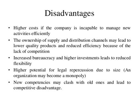 what is the advantage and disadvantage of integrated circuit vertical integration