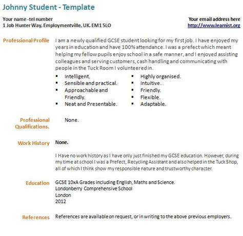Comprehensive Resume Sample Format by First Time Cv Example Template Forums Learnist Org