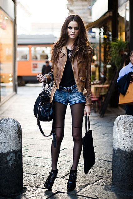 leather jacket brown sheer tights shorts and