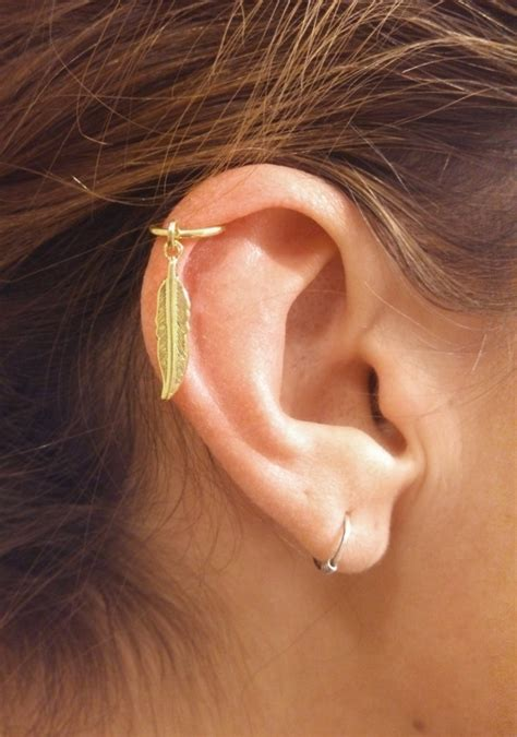 gold cartilage hoop gold feather earring boho by midnightsmojo
