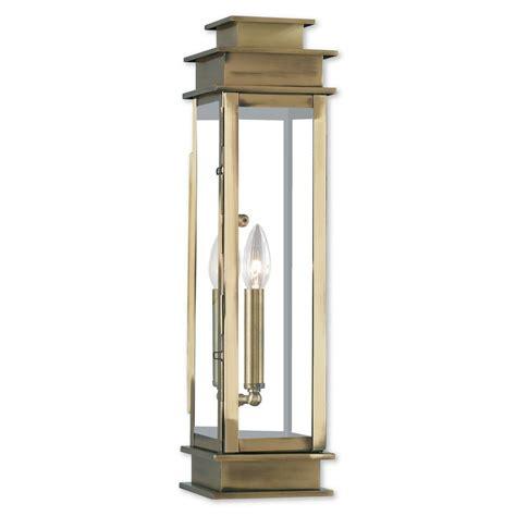 Antique Brass Outdoor Lighting Livex Lighting Princeton 1 Light Antique Brass Outdoor Wall Mount Lantern 20207 01 The Home Depot