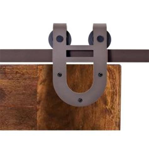 Calhome 72 In Antique Bronze Rustic Horseshoe Barn Style Barn Door Track Home Depot