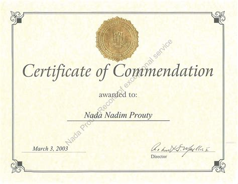 certificate of commendation template certificate of commendation template free golden formal