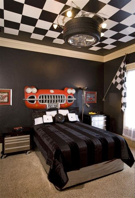cars theme bedroom kids boys guest car lovers bedroom black and white checked ceiling grill and no detail left