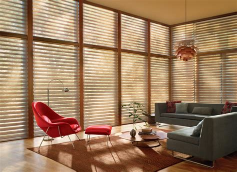 mid century modern window coverings silhouette window shadings midcentury living room