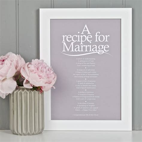 personalised marriage print with marriage poem by bespoke