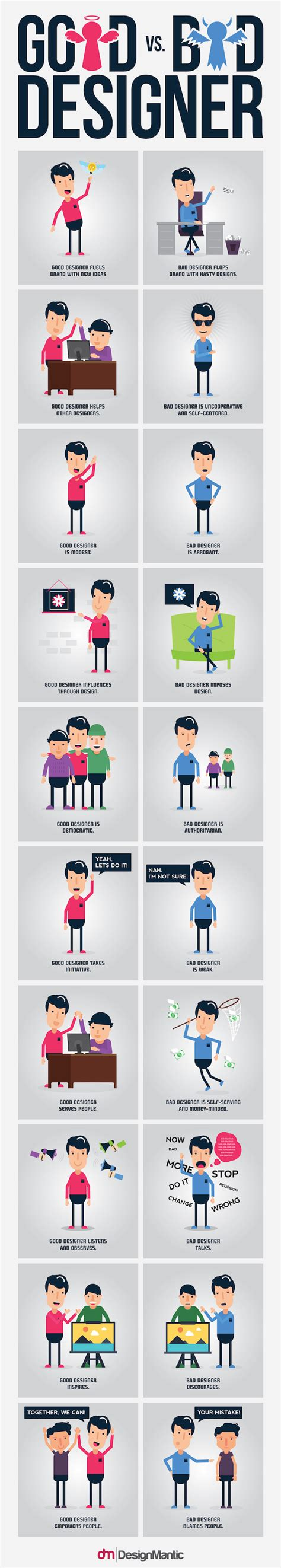 designmantic infographics infographic differences between a good and bad designer