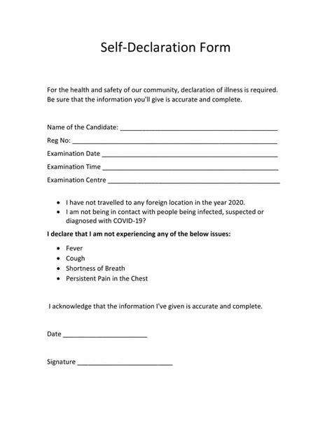 [PDF] Self Declaration Form NTA PDF Download – InstaPDF